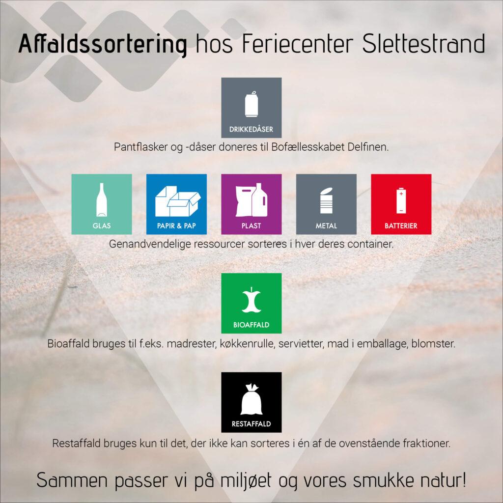 Affaldssortering hos Feriecenter Slettestrand | Sammen passer vi på miljøet og vores smukke natur!